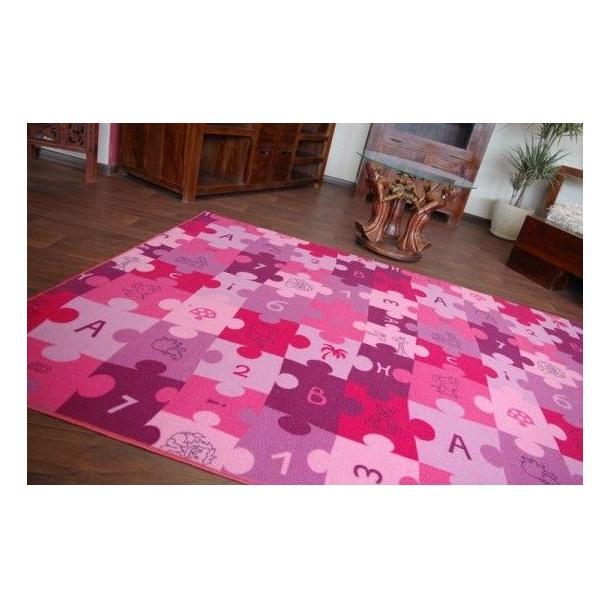 Detský koberec PUZZLE ružový