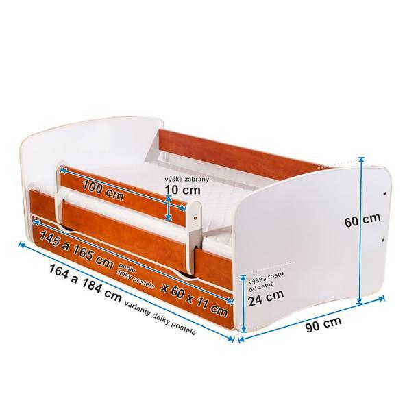 Detská posteľ so zásuvkou 160x80 cm - MÍŠA so srdiečkami II