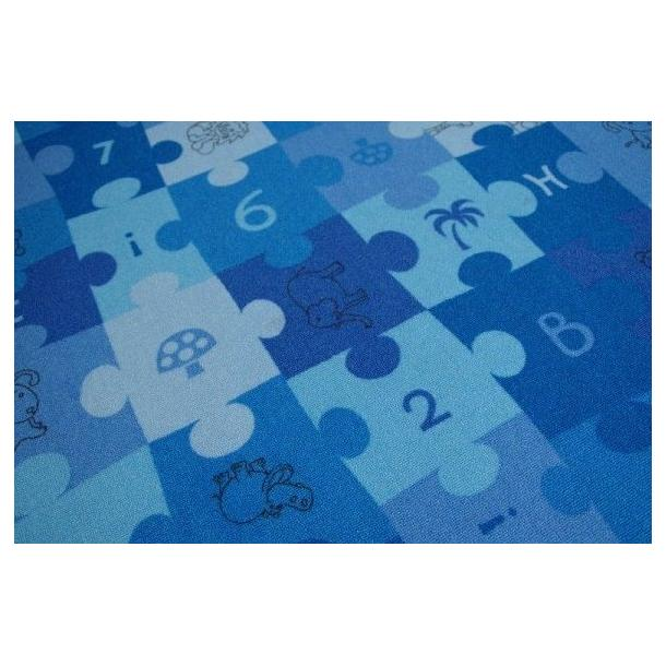Detský guľatý koberec PUZZLE modrý