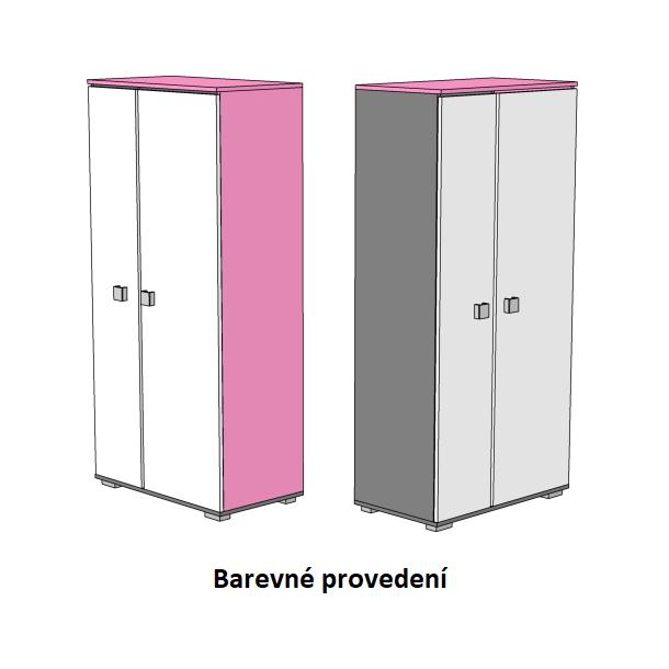 Šatní skříň - PINK TYP A - barevné provedení