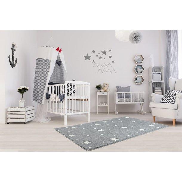 Detský koberec HEAVEN striebornošedý / biely 120x170 cm