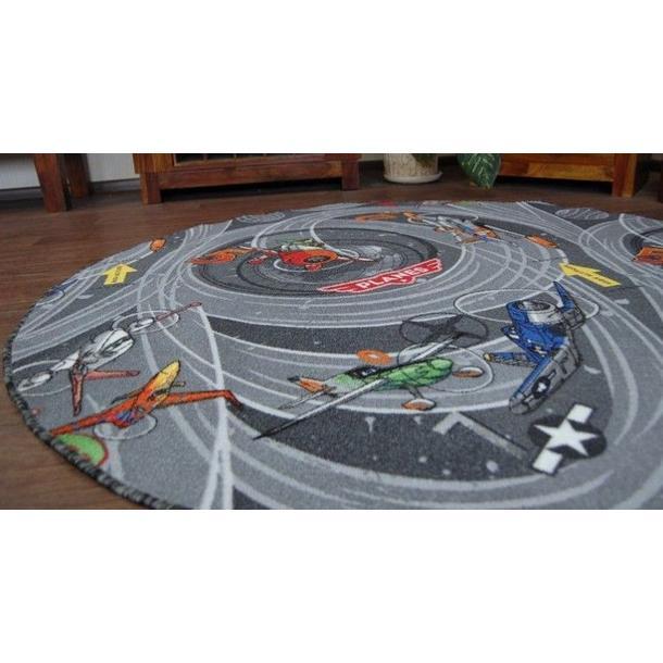 Detský guľatý koberec LIETADLÁ sivý