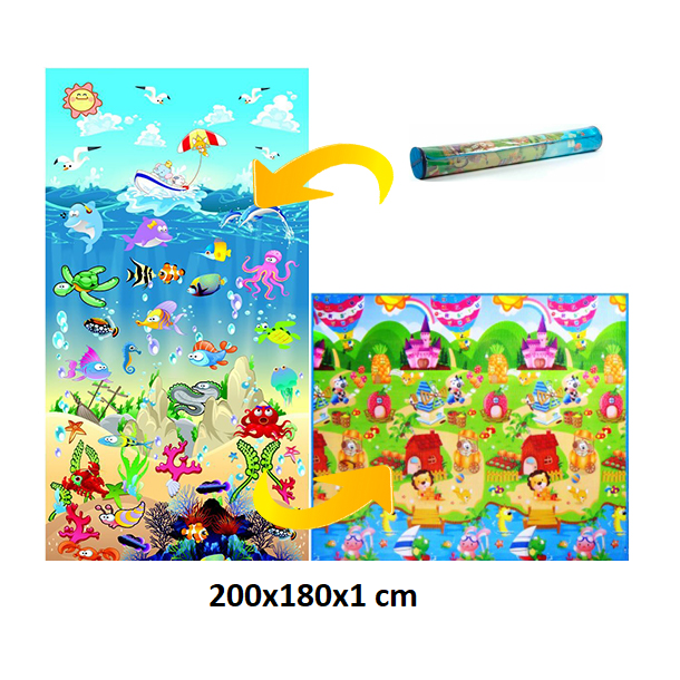 Detský penový koberec - oceán + domček leva 200x180x1 cm