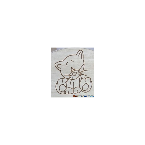 Detská šatníková skriňa s výrezom PSÍK - prírodná