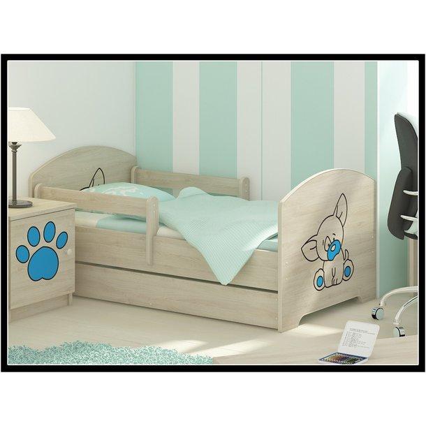 Detská posteľ s výrezom PSÍK - modrá 140x70 cm