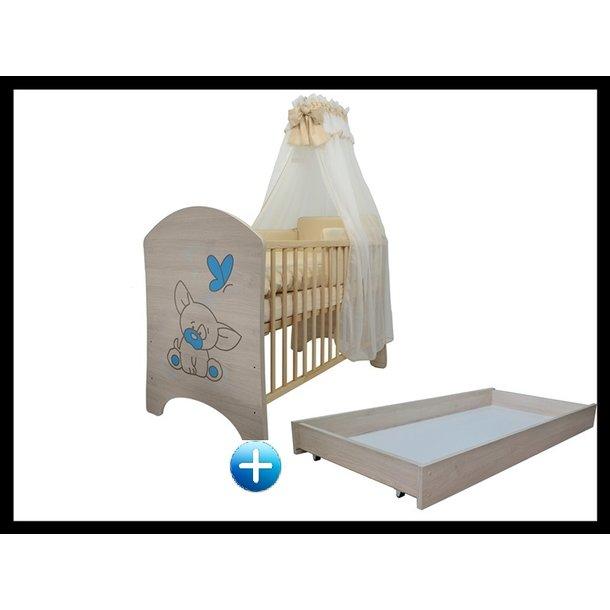 Detská postieľka PSÍK modrá 120x60 cm + šuplík