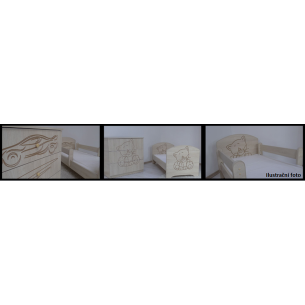 Detská postieľka s výrezom ŽIRAFA - prírodná 120x60 cm