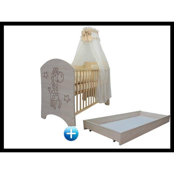 Detská postieľka ŽIRAFA prírodná 120x60 cm + šuplík