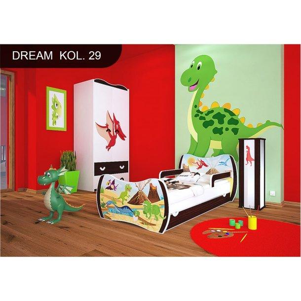 Detská posteľ so zásuvkou 180x90cm DINOSAURI + matrace ZADARMO!