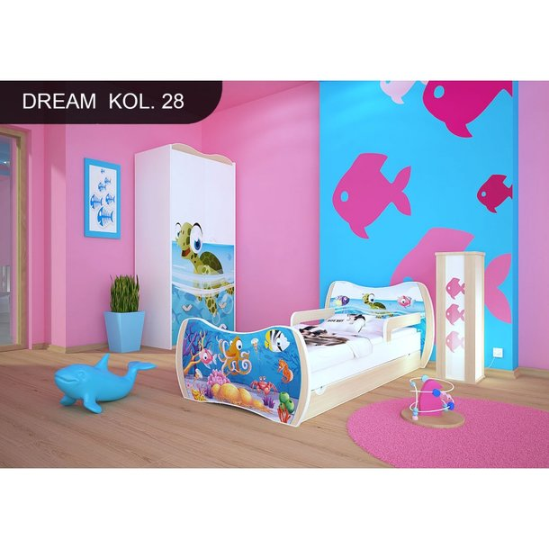 Detská posteľ so zásuvkou 180x90cm MORSKÝ SVET + matrace ZADARMO!