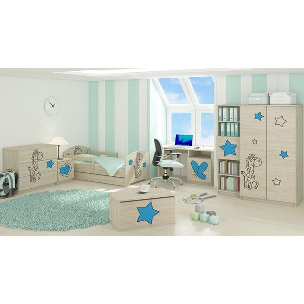 Detská izba s výrezom ŽIRAFA - modrá - Dub sonoma