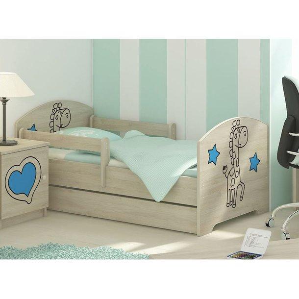 Detská posteľ s výrezom ŽIRAFA - modrá 140x70 cm