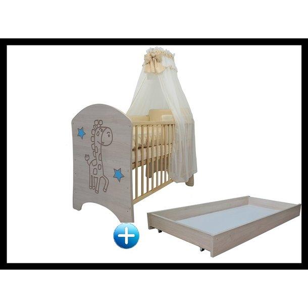 Detská postieľka s výrezom ŽIRAFA - modrá 120x60 cm + šuplík
