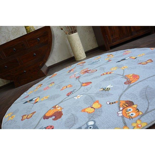 Detský guľatý koberec VESELÁ ZVIERATKÁ - sivý