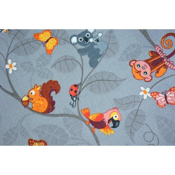 Detský koberec VESELÁ ZVIERATKÁ - sivý