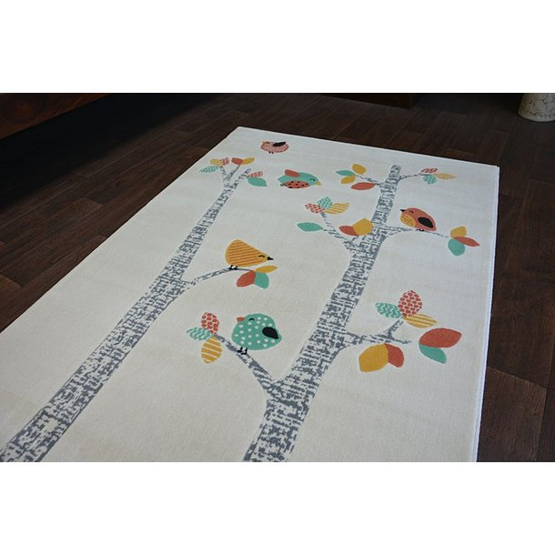Detský kusový koberec Vtáčiky - biely