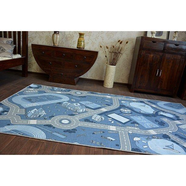 Detský koberec STREET modrý - pogumovaný