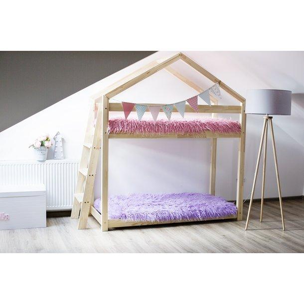 Detská posteľ z masívu Poschodová DOMČEK - TYP B 180x90 cm