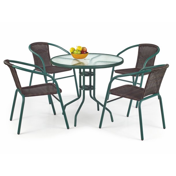 Záhradný stôl GRIT 80 cm - tmavo zelený / sklenený
