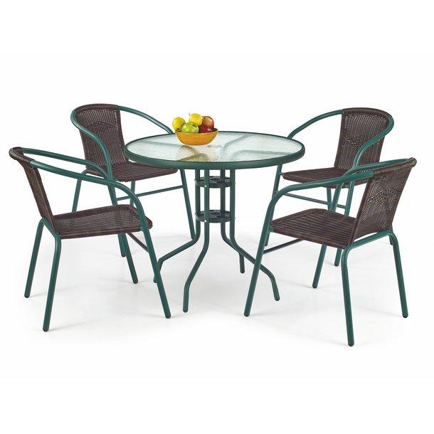 Záhradný ratanový nábytok GRIT 4 stoličky + stôl - tmavo zelený