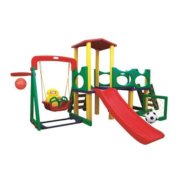 Detské ihrisko MAX 3XL - šmykľavka - hojdačka - most s vežičkou - futbalová bránka - basketbalový kôš