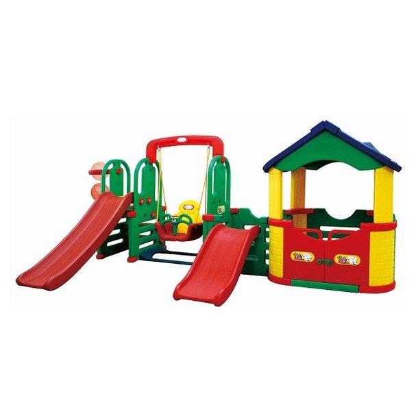 Detské ihrisko MAX 4XL - 2x šmykľavka - hojdačka - domček - basketbalový kôš