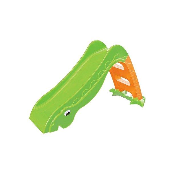 Detská šmýkačka DINOSAURIE KRK - 135x40x70 cm - zeleno / oranžová