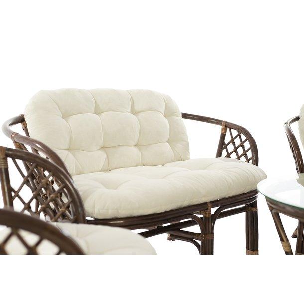 Záhradná ratanová zostava PREMIER - hnedá-biela