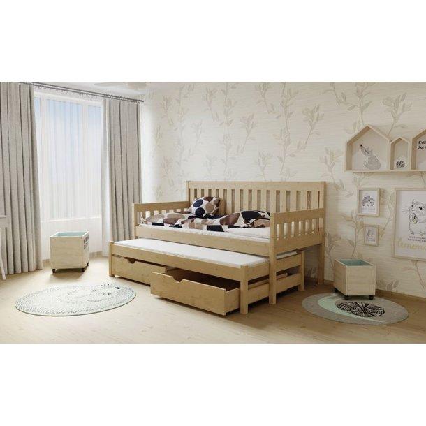 SKLADOM: Detská posteľ s výsuvnou prístelkou z MASÍVU 200x80cm so zásuvkou - M06