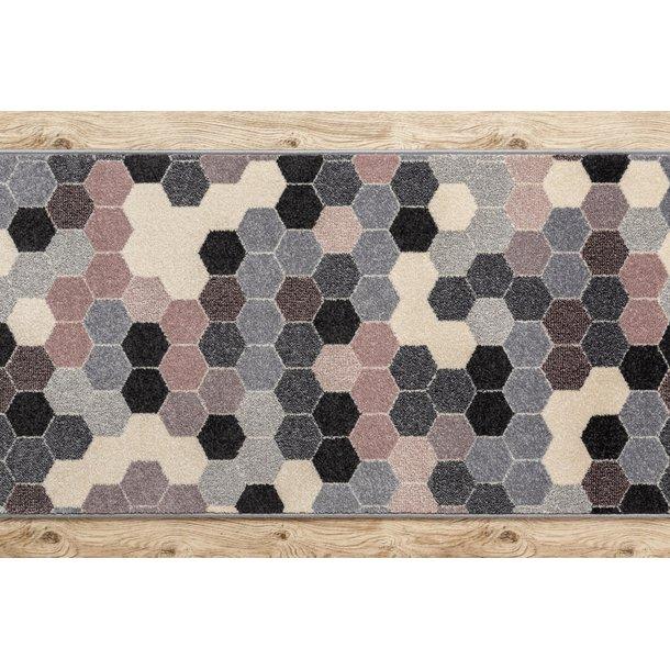 Moderné behúň šesťuholník - sivý / ružový / béžový