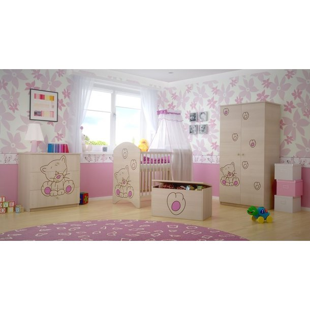 SKLADOM: Detská postieľka s výrezom MAČIČKA - ružová 120x60 cm