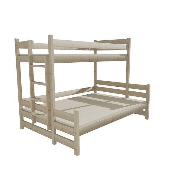 Detská poschodová posteľ s rozšíreným spodným lôžkom z MASÍVU 200x90cm bez šuplíku - PPS003
