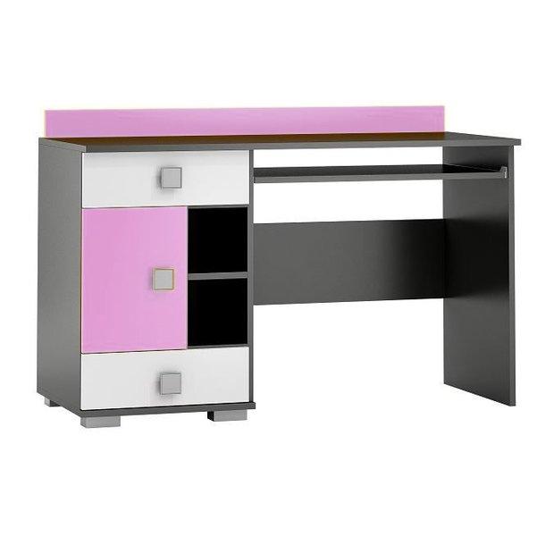 SKLADOM: Písací stôl YELLOW - TYP A - ružový s grafitovým korpusom