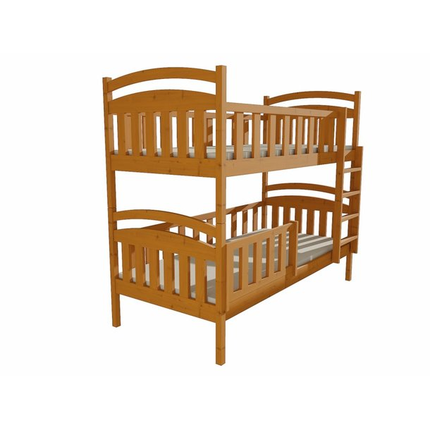 SKLADOM: Detská poschodová posteľ z MASÍVU 200x80cm so zásuvkami - PP007 - jelša