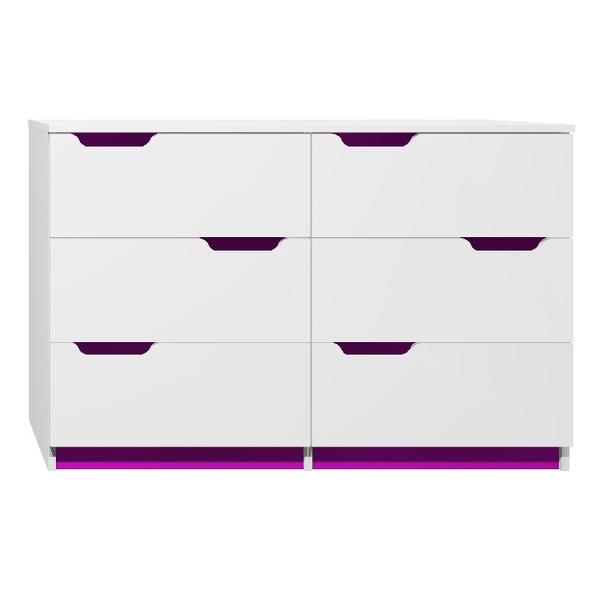 SKLADOM: Komoda - MODERN TYP D - tmavo fialová / biela