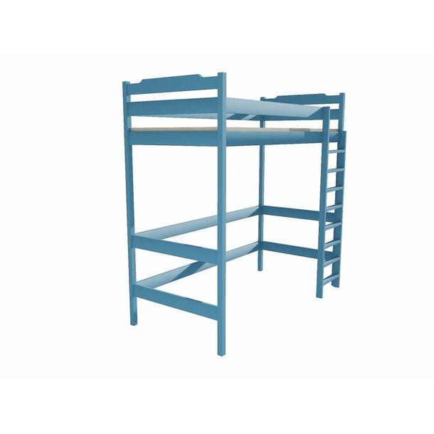 SKLADOM: Vyvýšená detská posteľ z MASÍVU 200x90cm - ZP004 - modrá
