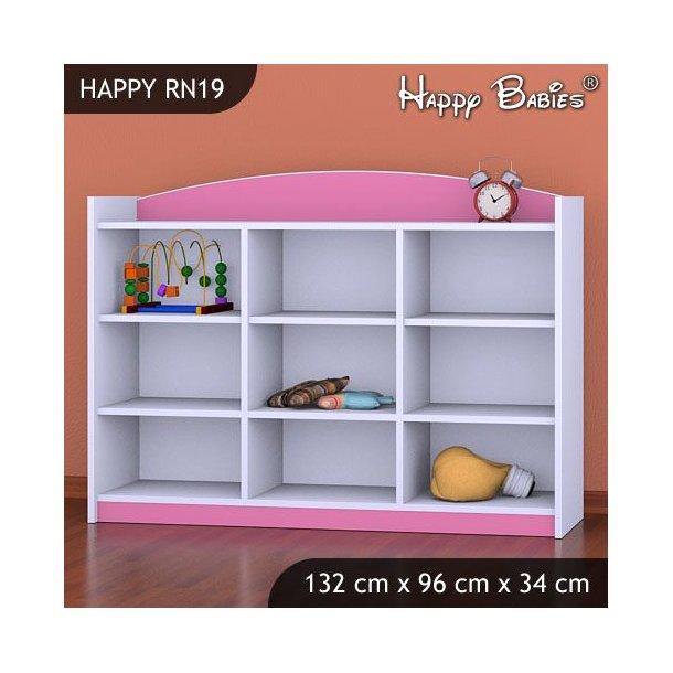 SKLADOM: Detský úložný regál - TYP 19 - NÍZKY - ružovo / biely