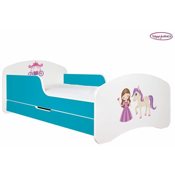 SKLADOM: Detská posteľ so zásuvkou 190x90cm PRINCEZNA A KONÍK - ružovo / biela + matrace ZADARMO!