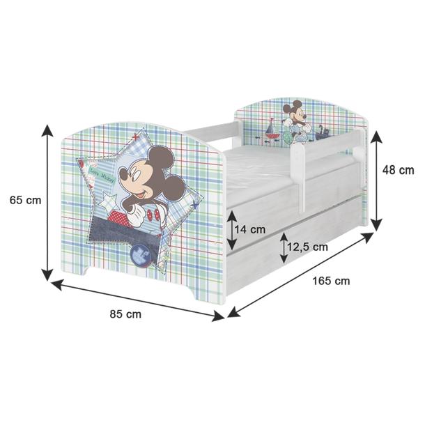 SKLADOM: Detská posteľ Disney - MICKEY MOUSE sa zásuvkou 160x80 cm