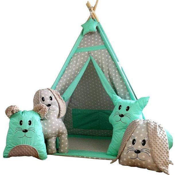Detský stan teepee (típí) EXCLUSIVE s doplnkami - mätovou