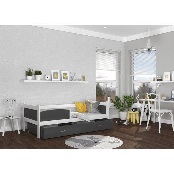SKLADOM: Detská posteľ so zásuvkou TWISTER M - 190x80 cm - šedo-biela