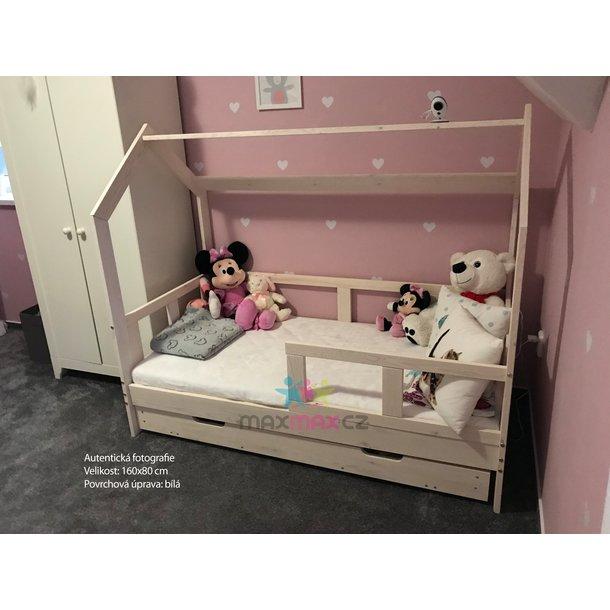 SKLADOM: Detská posteľ z masívu so zásuvkou DOMČEK BEDHOUSE 200x100 cm - biela