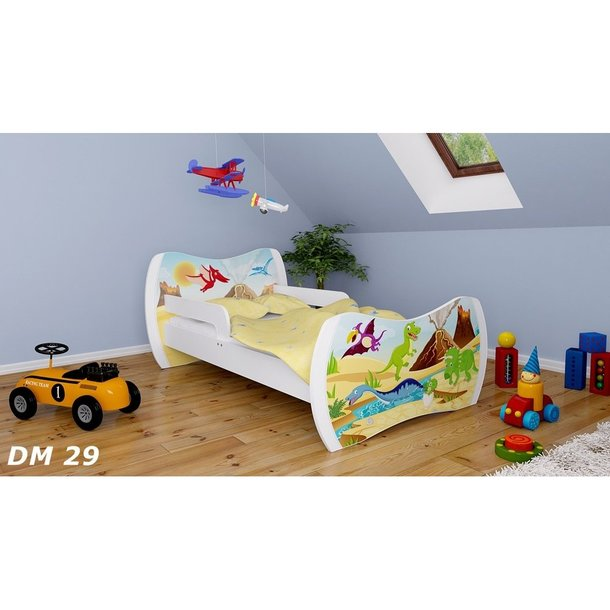 Detská posteľ so zásuvkou 160x80cm DINOSAURI + matrace ZADARMO!