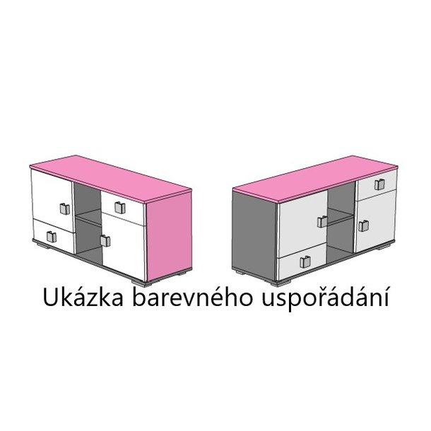 SKLADOM: Komoda PARÍŽ - TYP C - grafit / ružová