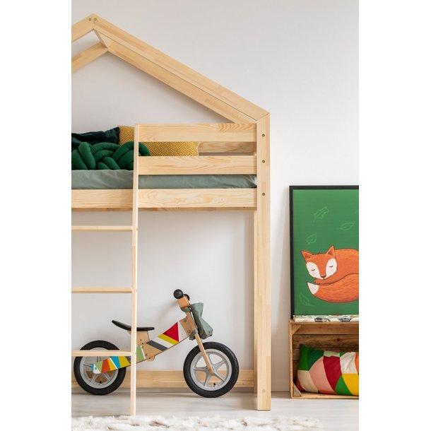 SKLADOM: Detská vyvýšená posteľ z masívu DOMČEK - TYP A 200x90 cm