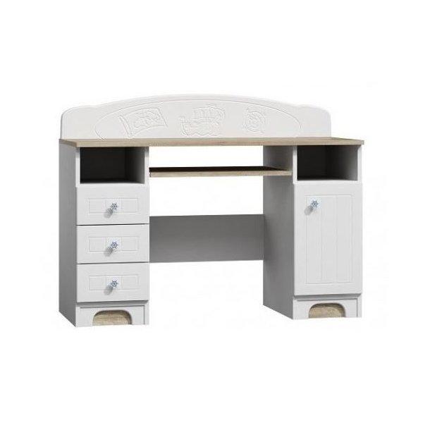 SKLADOM: Písací stôl MORA - TYP B - dub canyon / biela