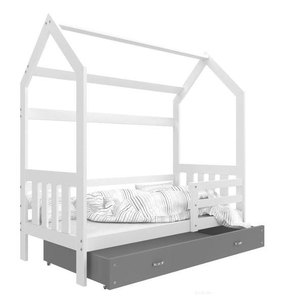 SKLADOM: Detská domčeková posteľ DOMČEK P - 190x80 cm - bielo / zelená