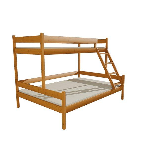 Detská poschodová posteľ s rozšíreným spodným lôžkom z MASÍVU 200x90cm so zásuvkou - PPS002