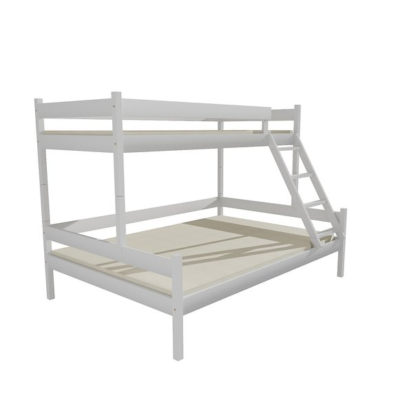 Detská poschodová posteľ s rozšíreným spodným lôžkom z MASÍVU 200x90cm SO ZÁSUVKAMI - PPS002