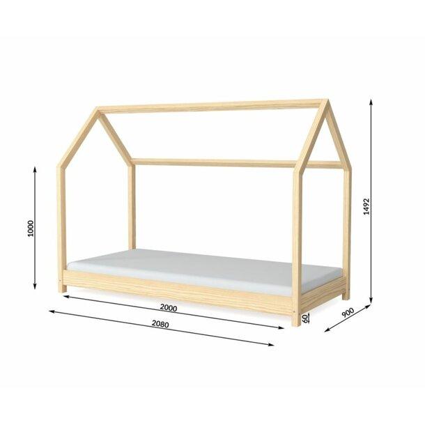 Detská Domčekové posteľ IZABELA - sivá 200x90 cm